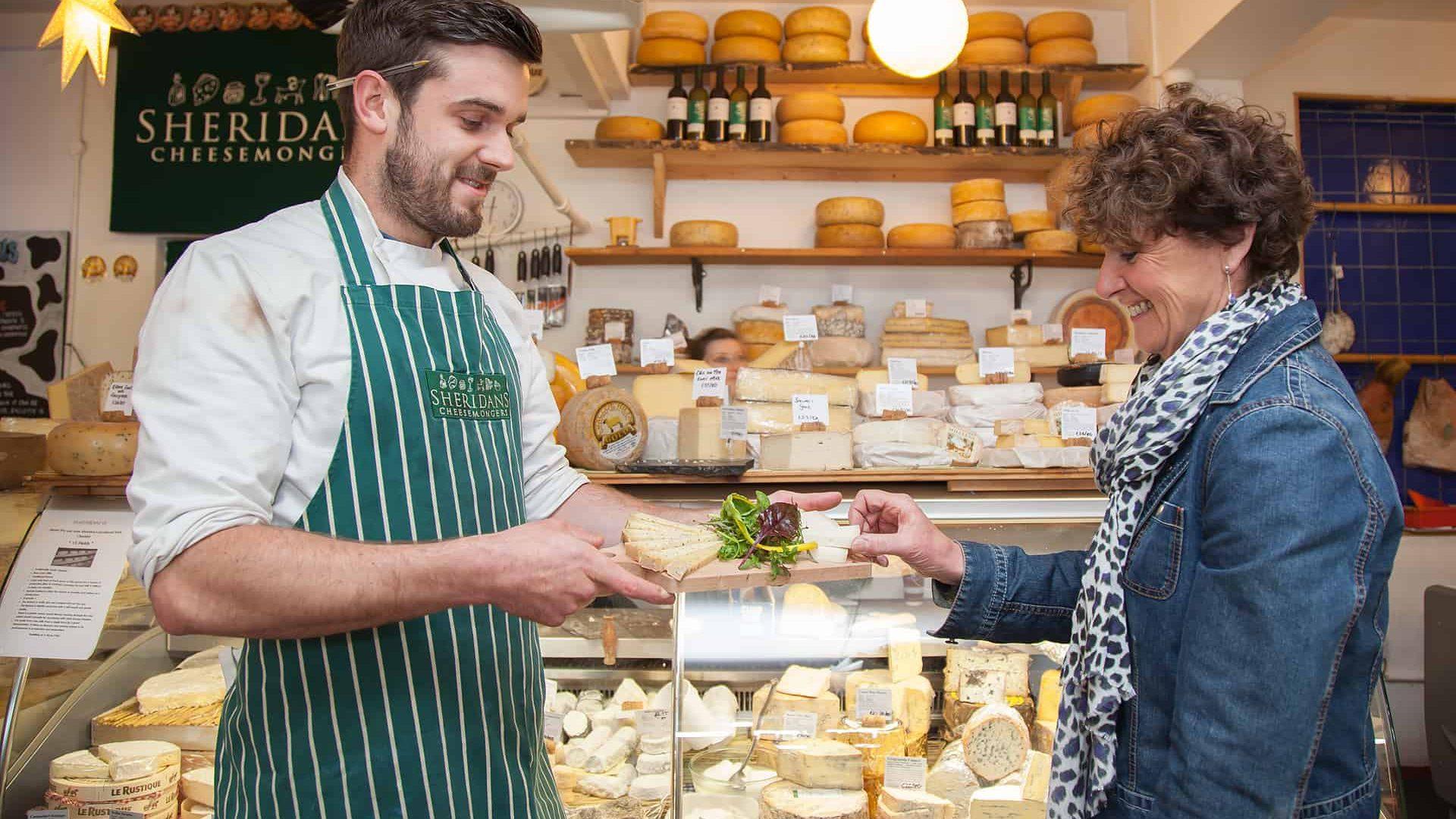 Sampling some cheese on the Galway Market Walking Tour