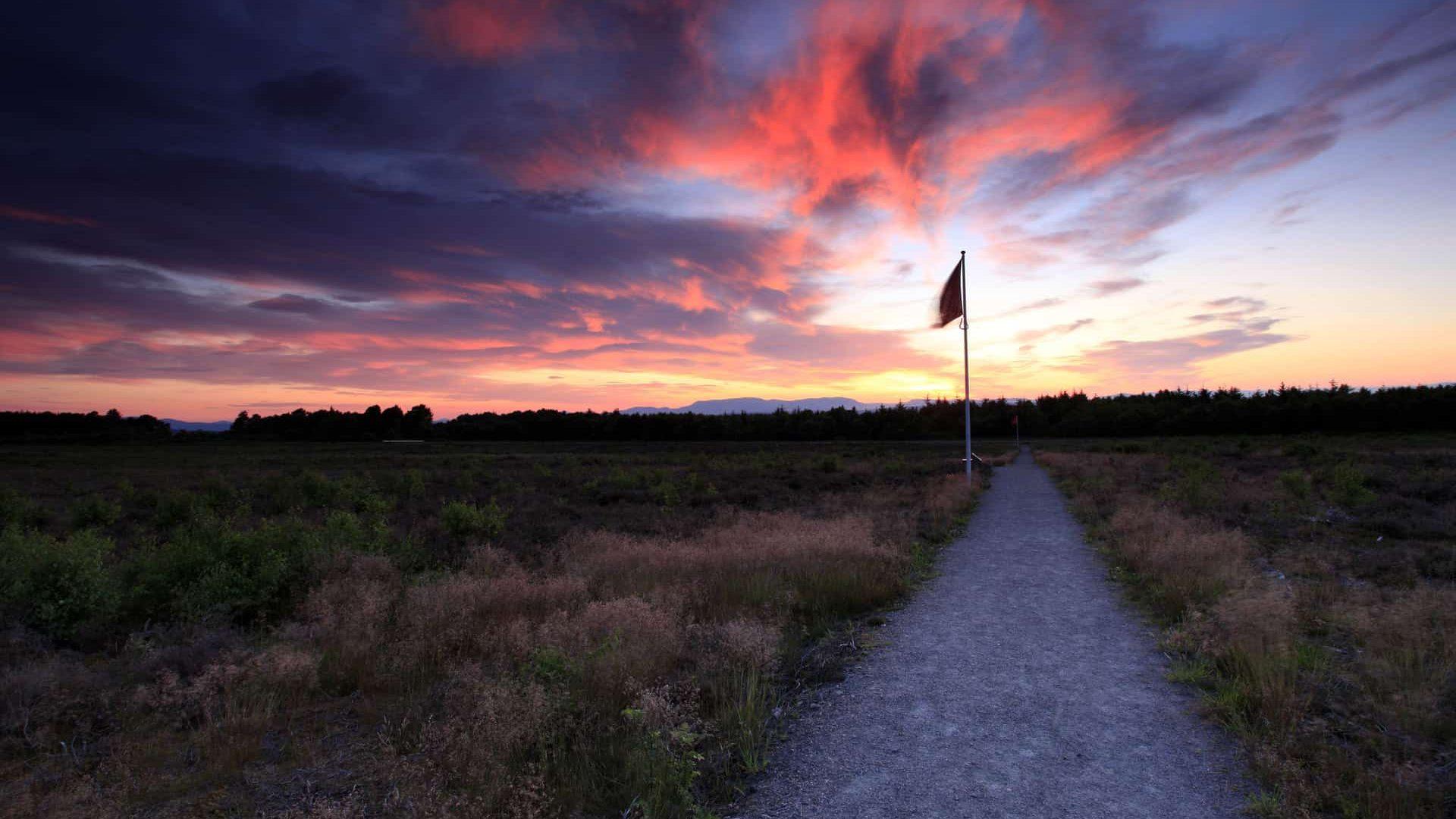 A dramatic sunset over Culloden Battlefield, near Inverness