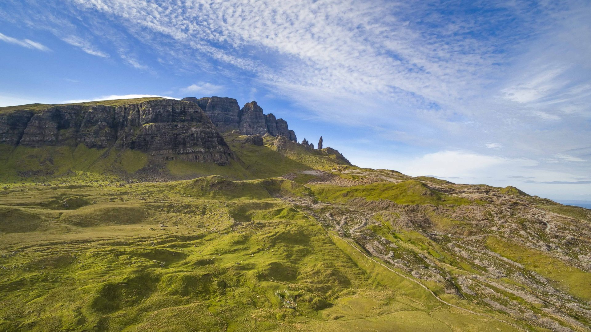 A scenic landscape shot of the iconic Old Man of Storr, Skye.