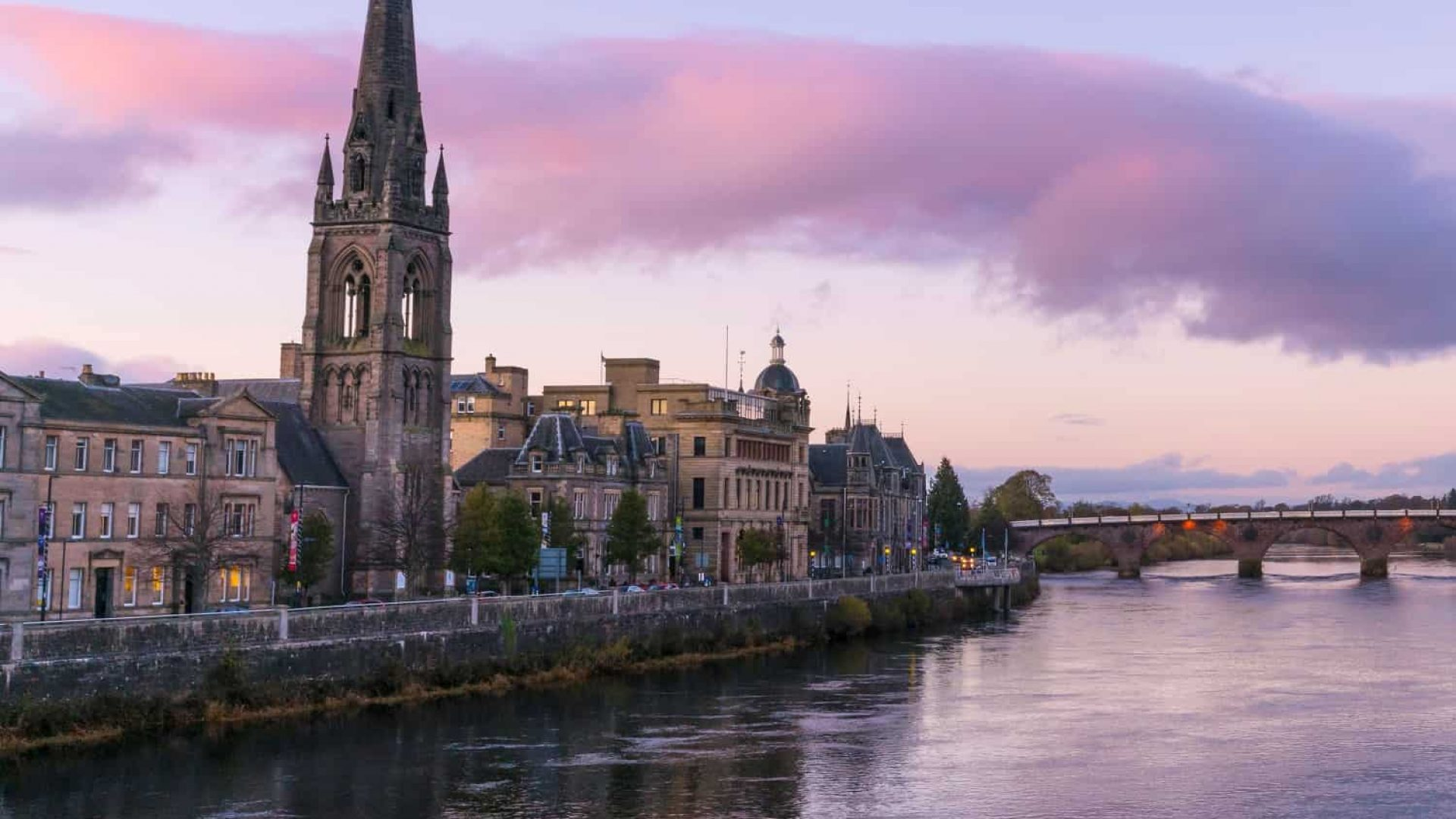 Looking toward St Matthew's Church on the River Tay, Perth.